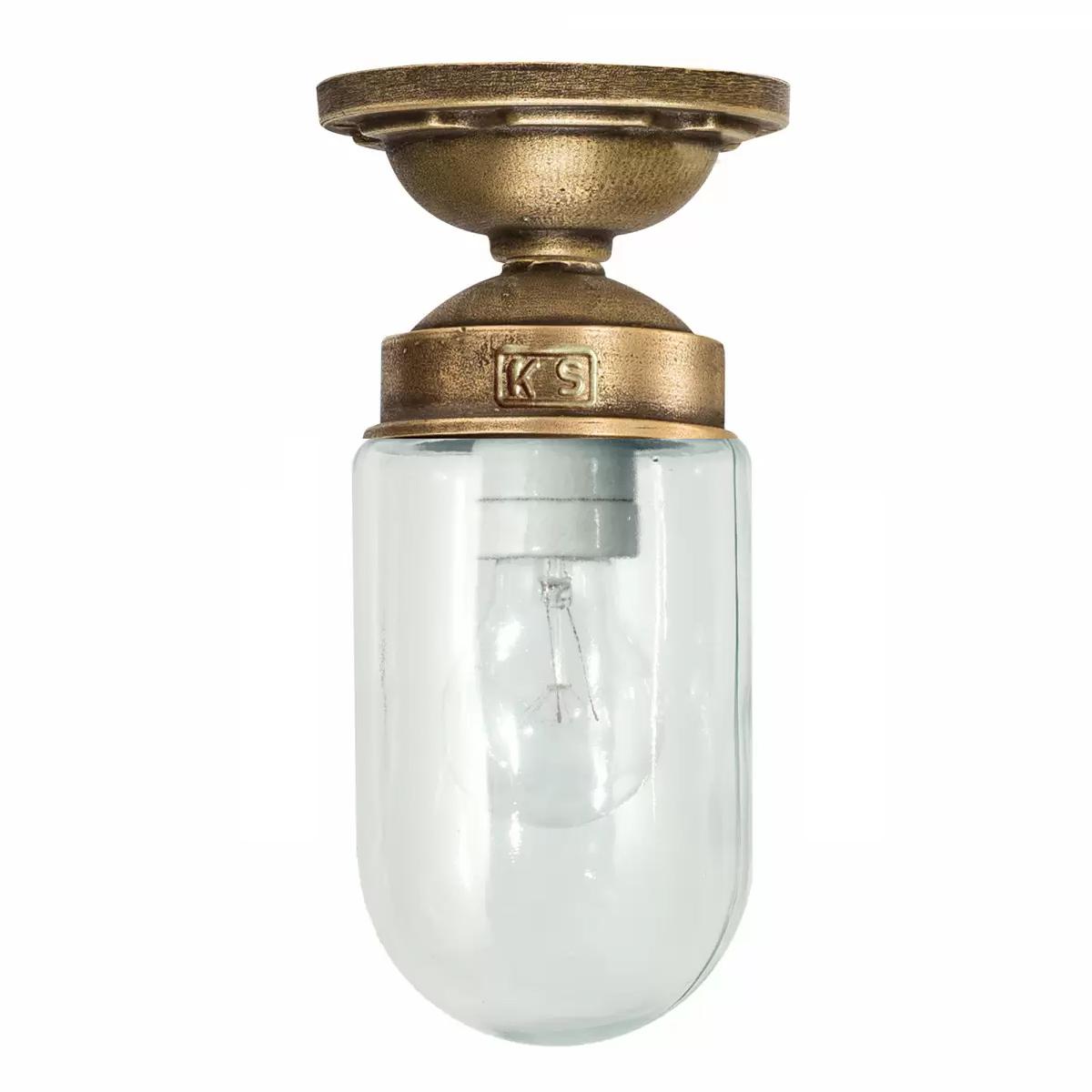 plafondlamp met glas en een bronzen plafondplaat