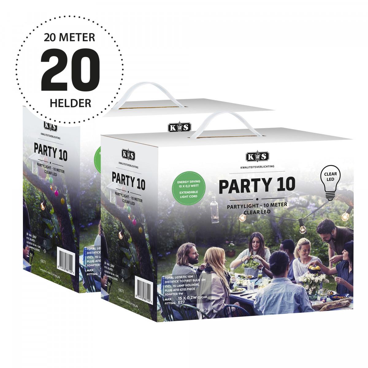 Lichtsnoer LED Party helder 20 meter / 30 Bolletjes