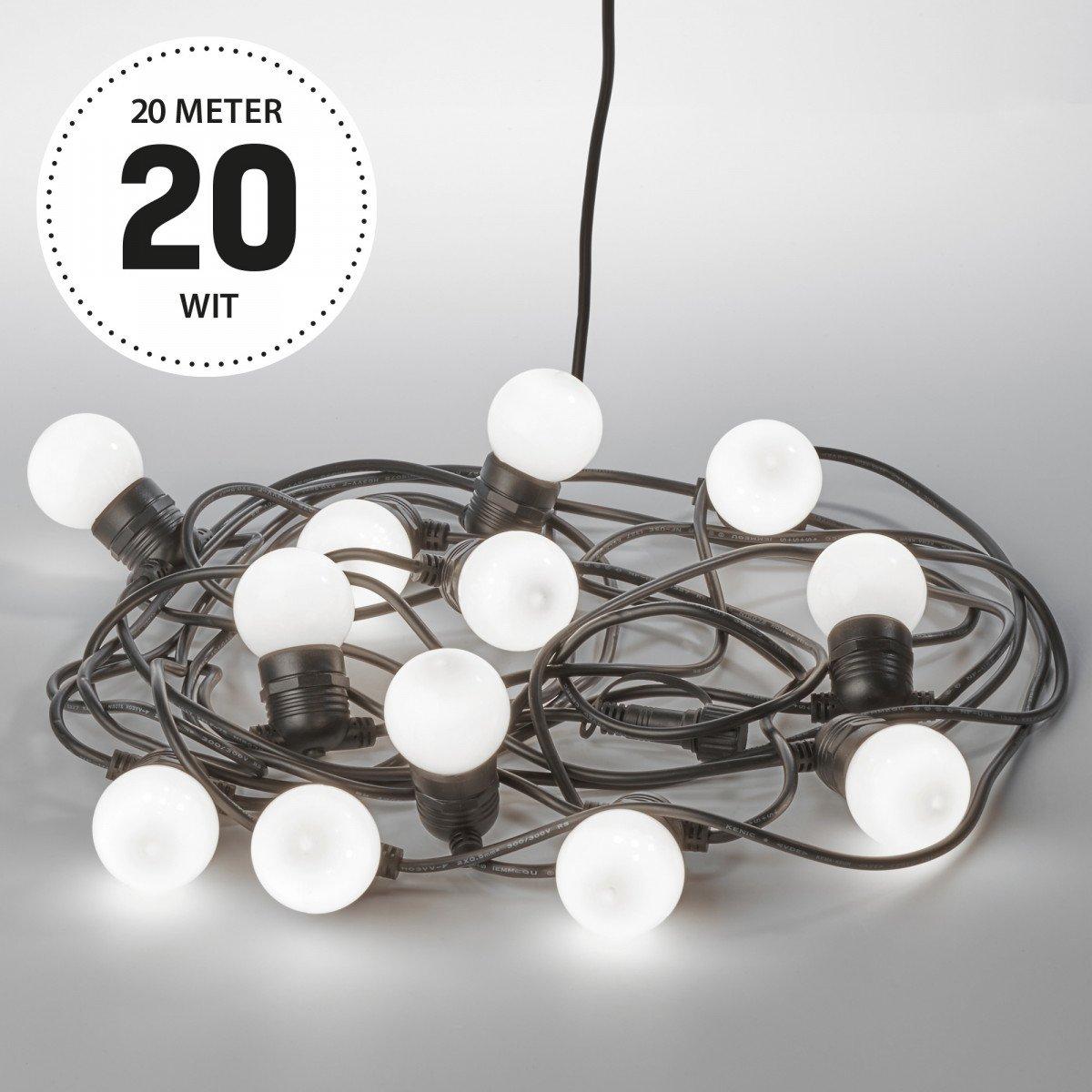Lichtsnoer LED Party opaal 20 meter / 30 Bolletjes