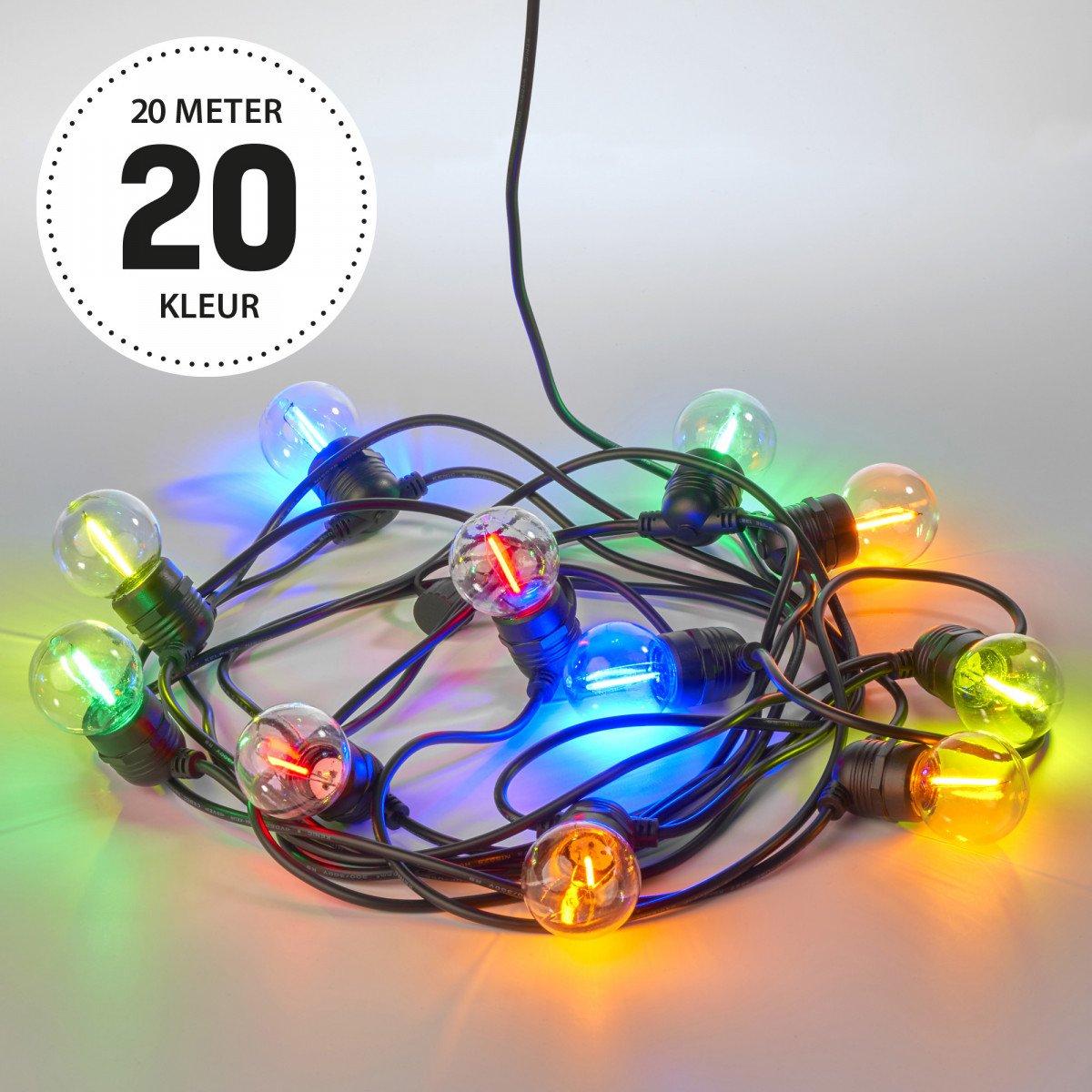 Lichtsnoer LED Party kleur 20 meter / 30 Bolletjes