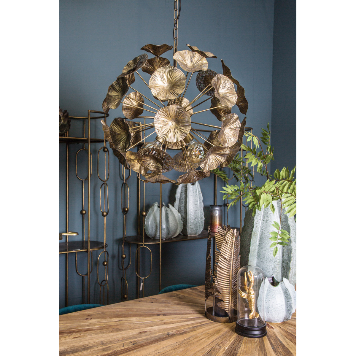 PTMD Marthe Gold hanglamp bloemen