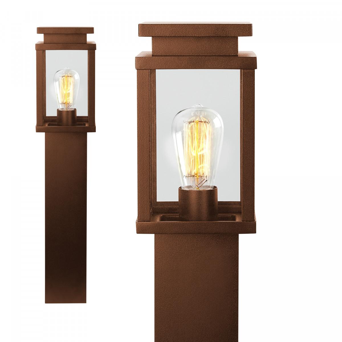 Buitenlamp staand corten, strak moderne buitenverlichting aluminium met roestbruine coating heldere glazen