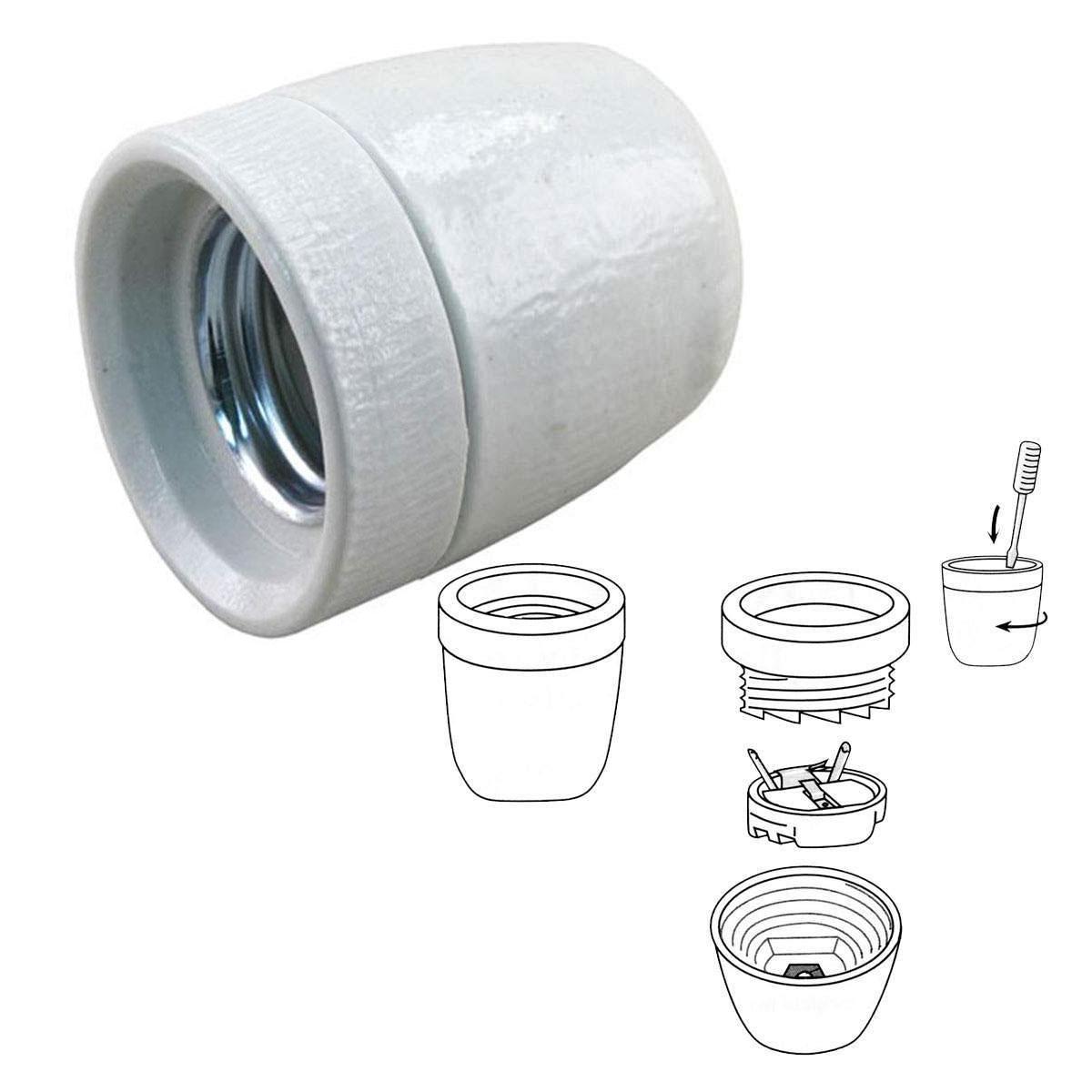Porseleinen fitting E27 groot, 17mm (5828) - KS Verlichting - Losse onderdelen