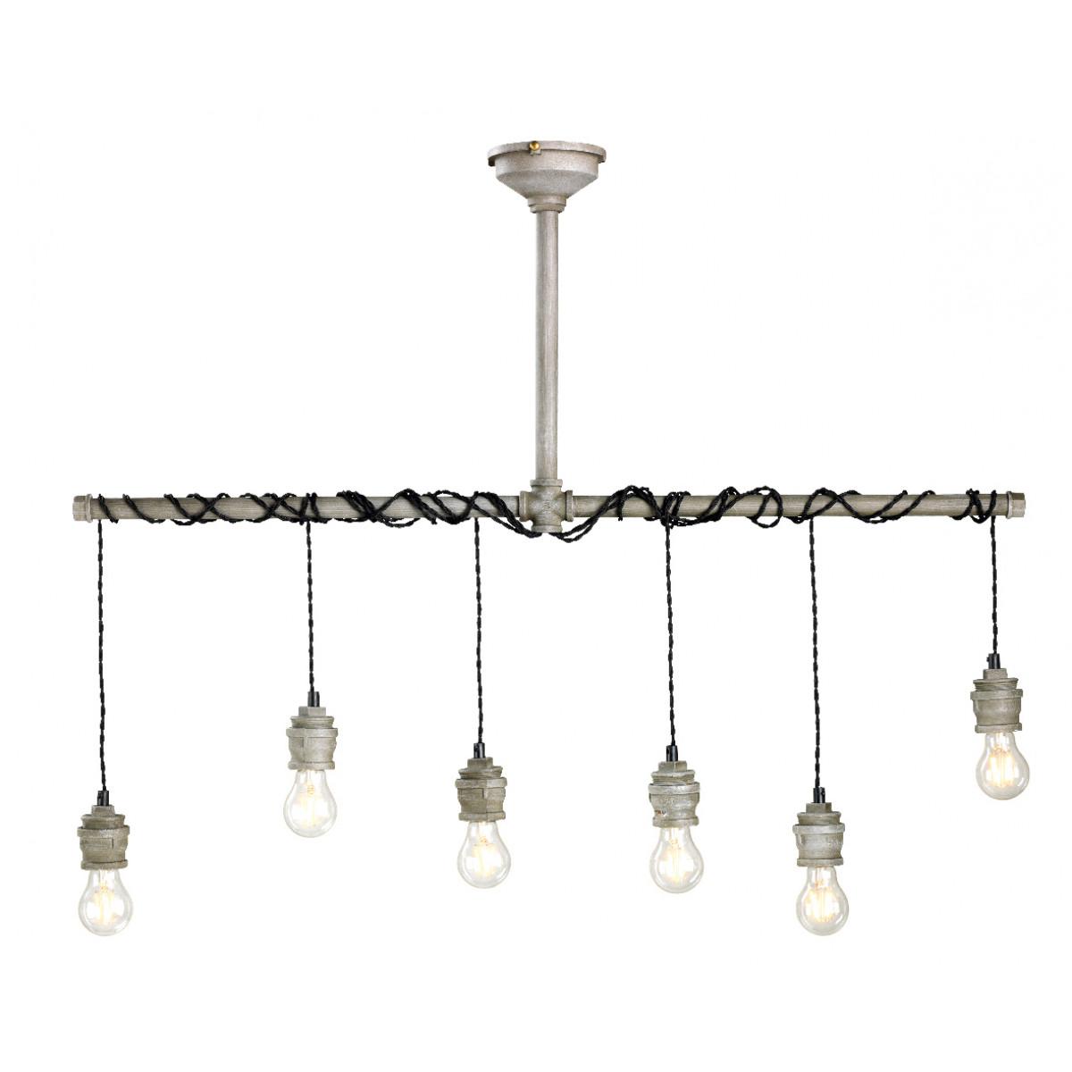 hanglamp industrieel - industriele metalen hanglamp 6 lampen industrieel - Nostalux