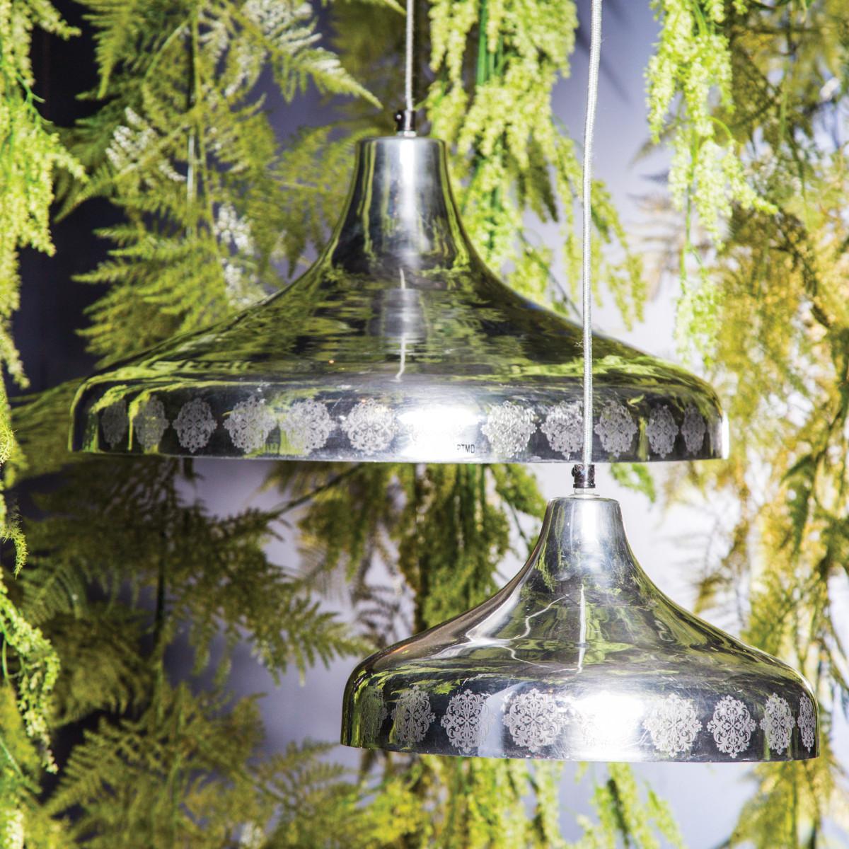 Alu shiny lamp hanging round flat L