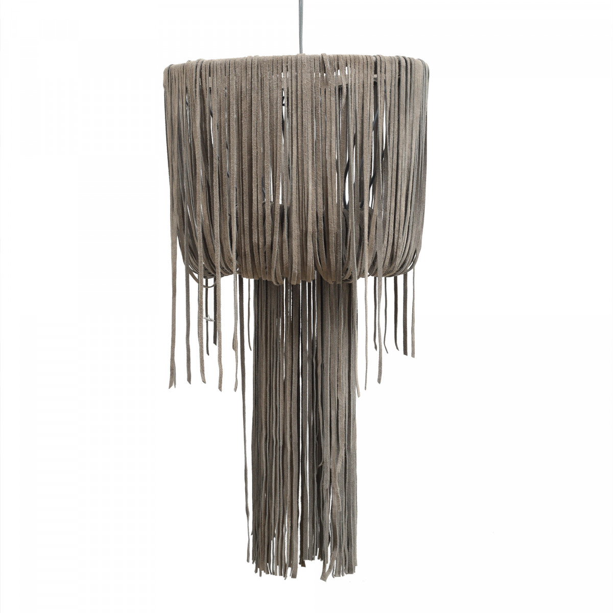 Leather Funky grey hanging lamp strokes S