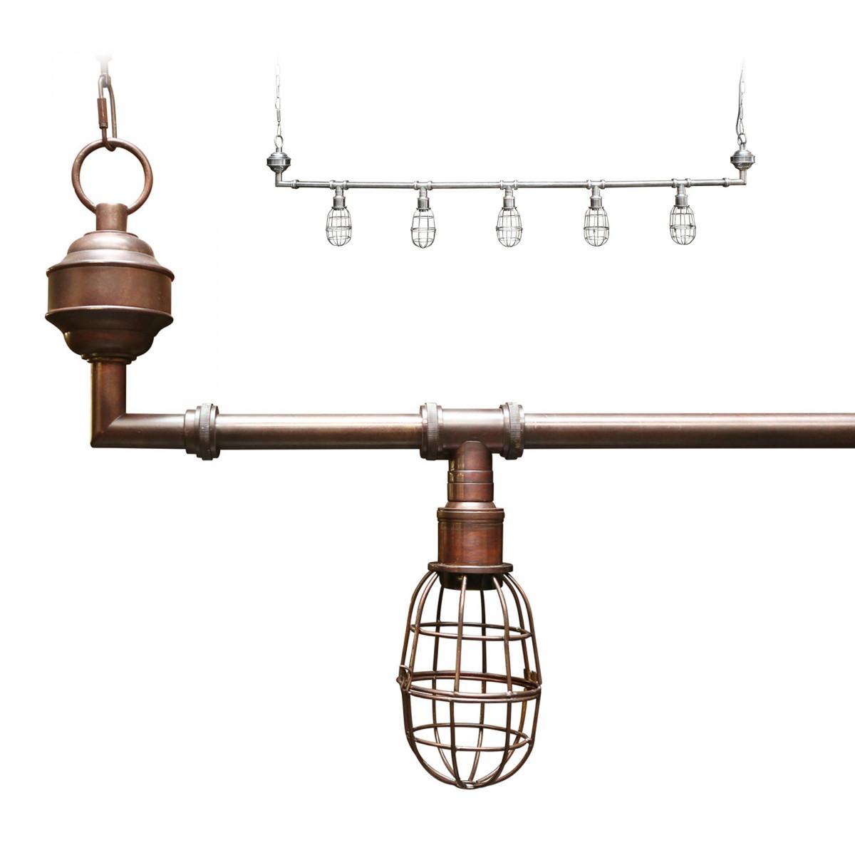 Industriële hanglamp Sandford antique dark brass 5-lights | Nostalux.nl