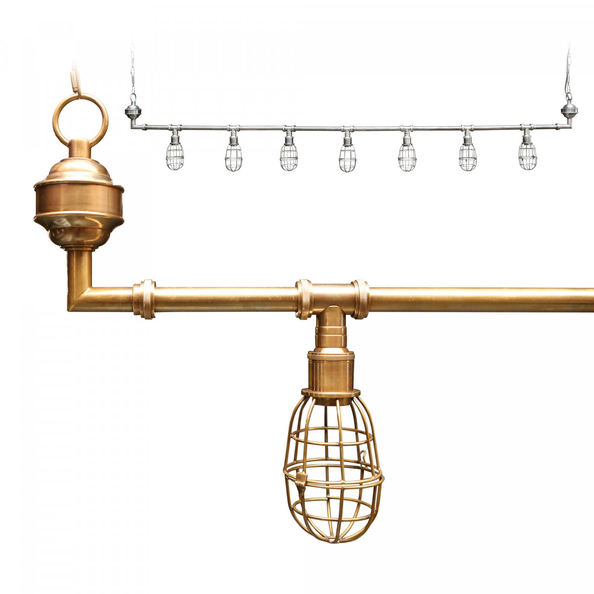 Industriële hanglamp Sandford antique brass 7-lights | Nostalux.nl