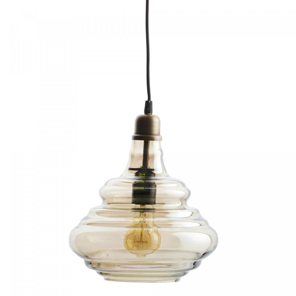BePure vintage hanglamp glas antique brass | nostalux.nl