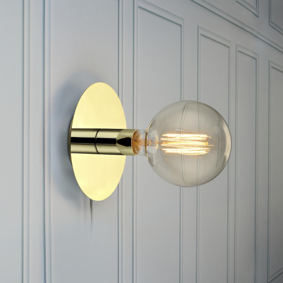 Wand/Plafondlamp Disc 1-lichts messing