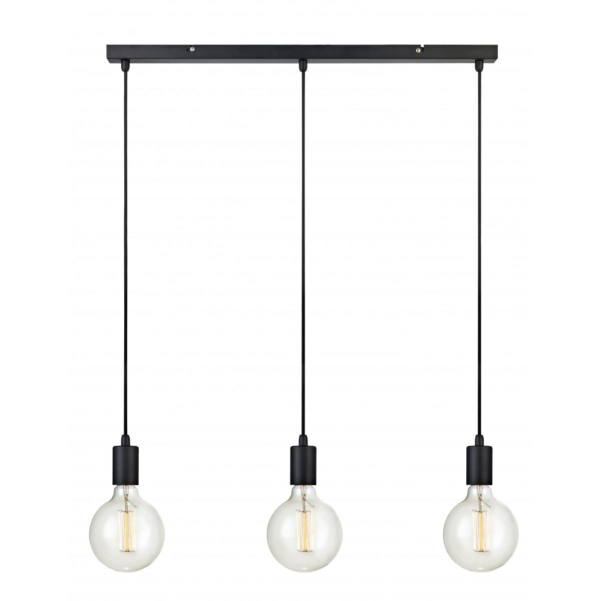 Hanglamp Sky Straight 3-lichts zwart