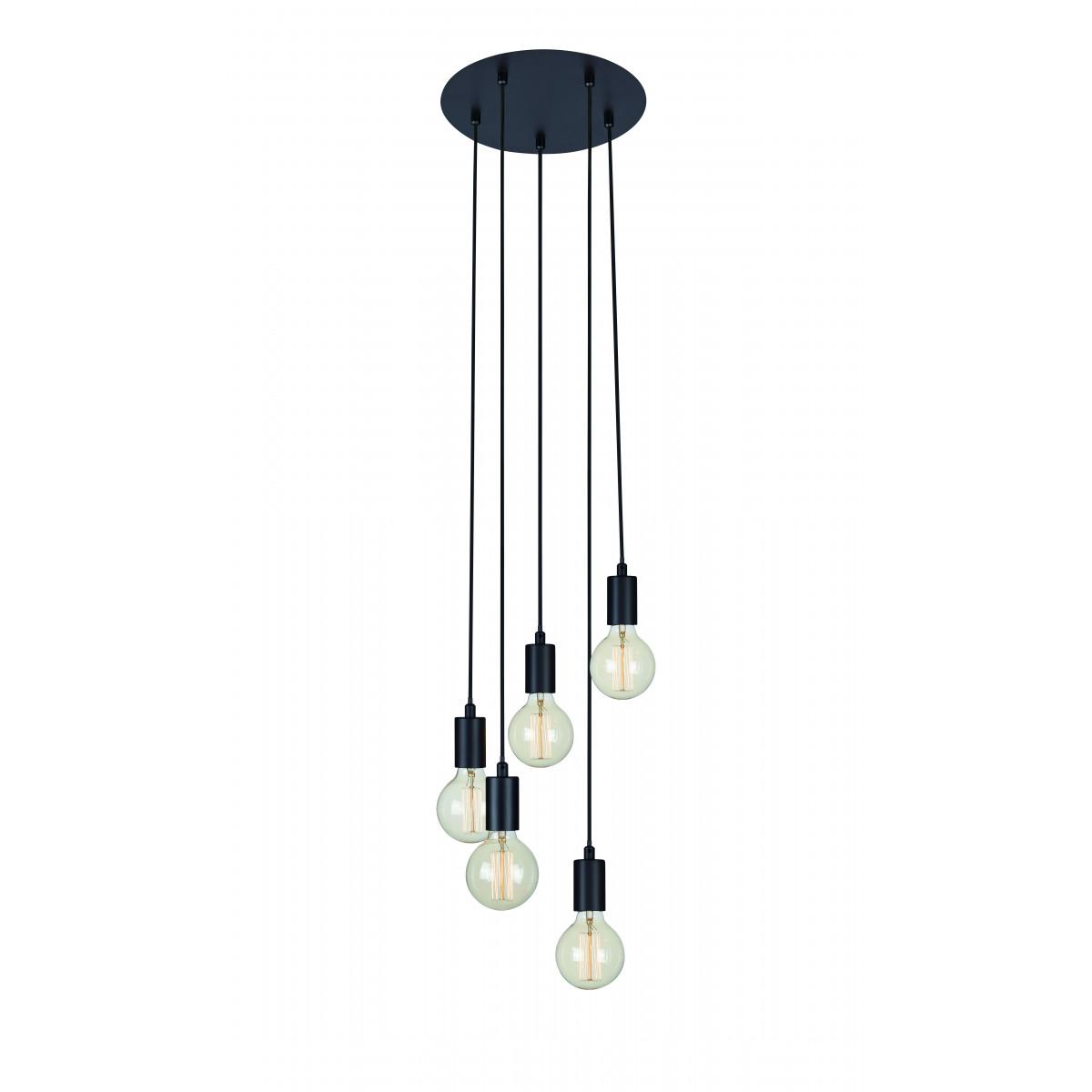 Hanglamp Sky 5-lichts zwart