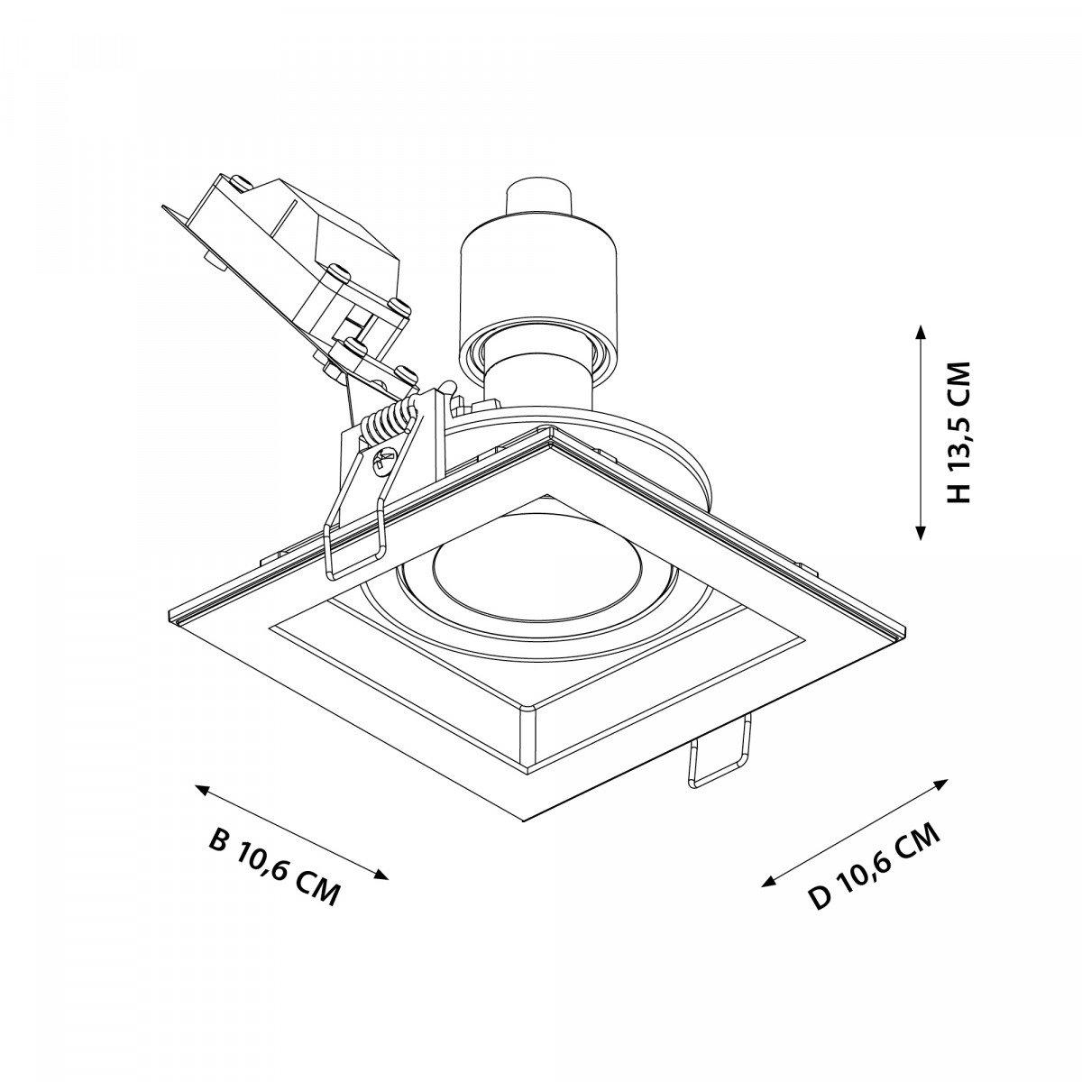 Richtbare inbouwspot Axl Vierkant zwart