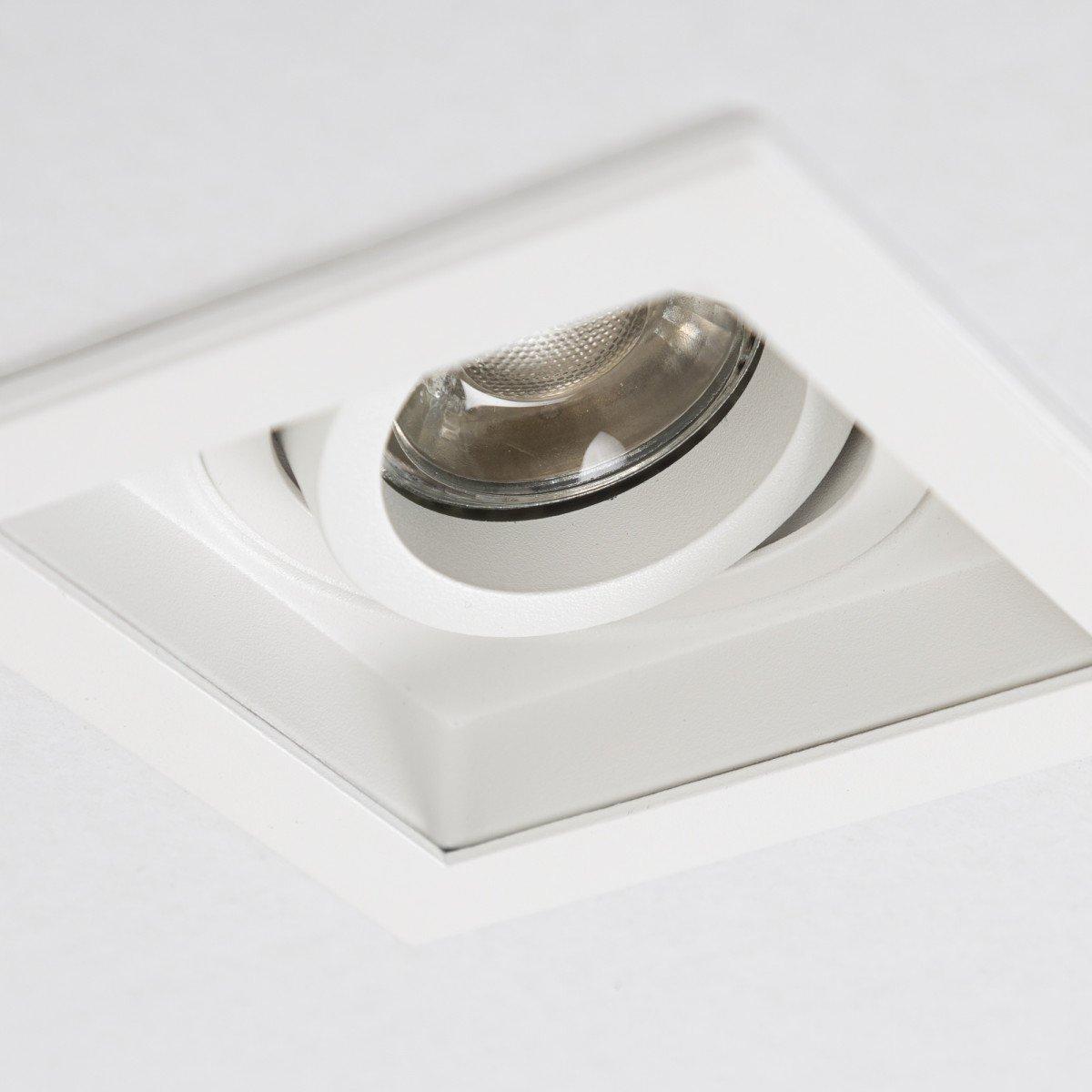 Richtbare inbouwspot Axl Vierkant wit