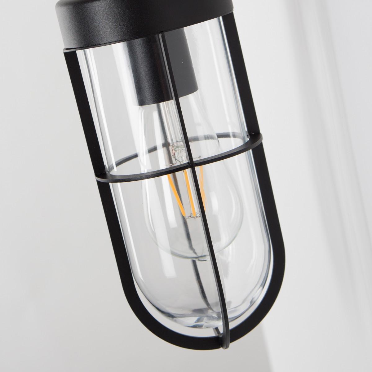 Zwarte buitenlamp Porto, moderne buitenmuur verlichting, type stallamp met glazen stolp en zwart raster, ronde muurplaat, E27 fitting