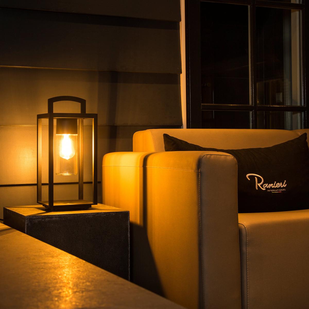 Portable zwarte buitenlamp Lounge, buitenverlichting met stekker, 3 meter snoer, zwarte moderne buitenverlichting, windlicht model, aanbieding, nostalux