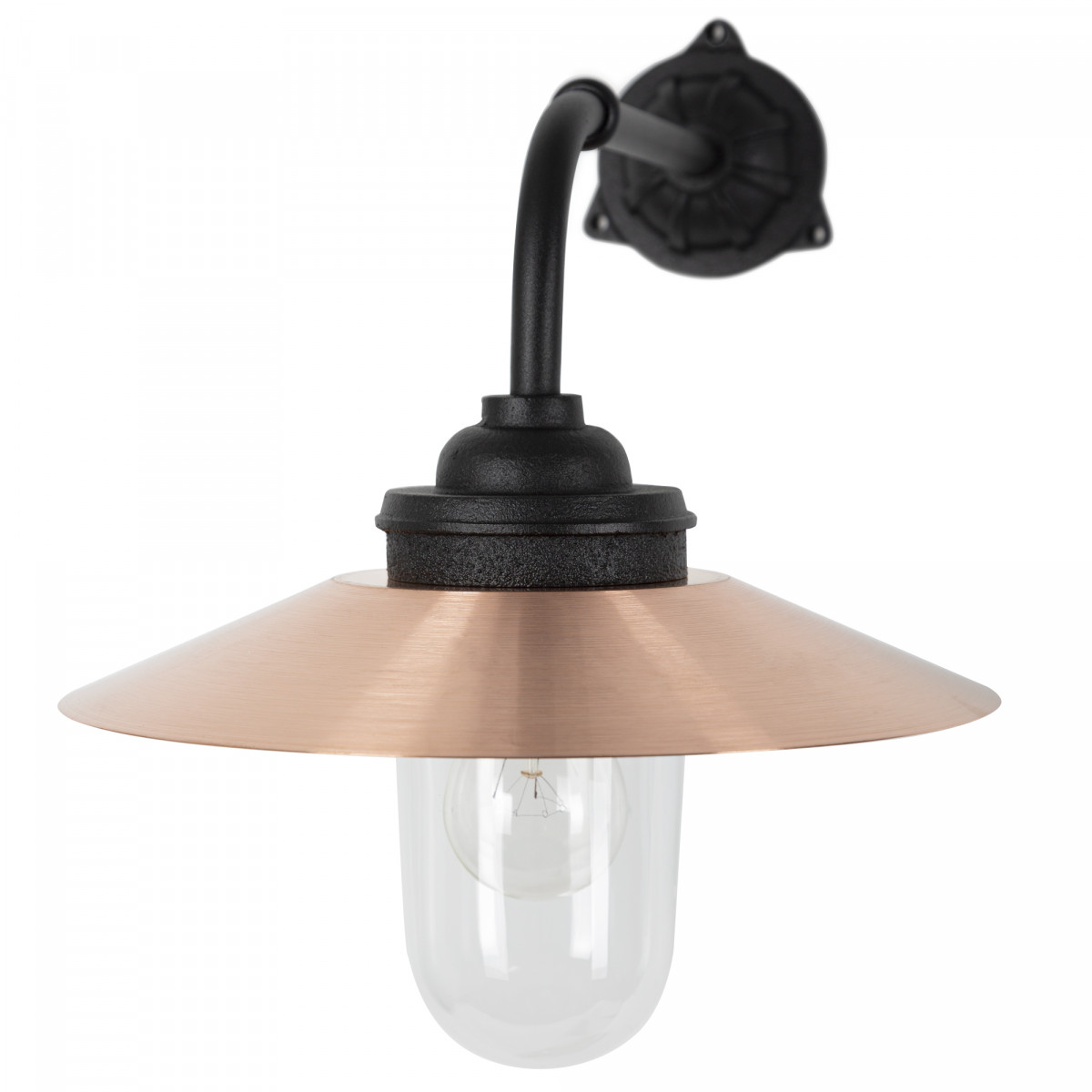 Stoere gietijzeren Stallamp Provence buitenlamp  Zwart & Koper