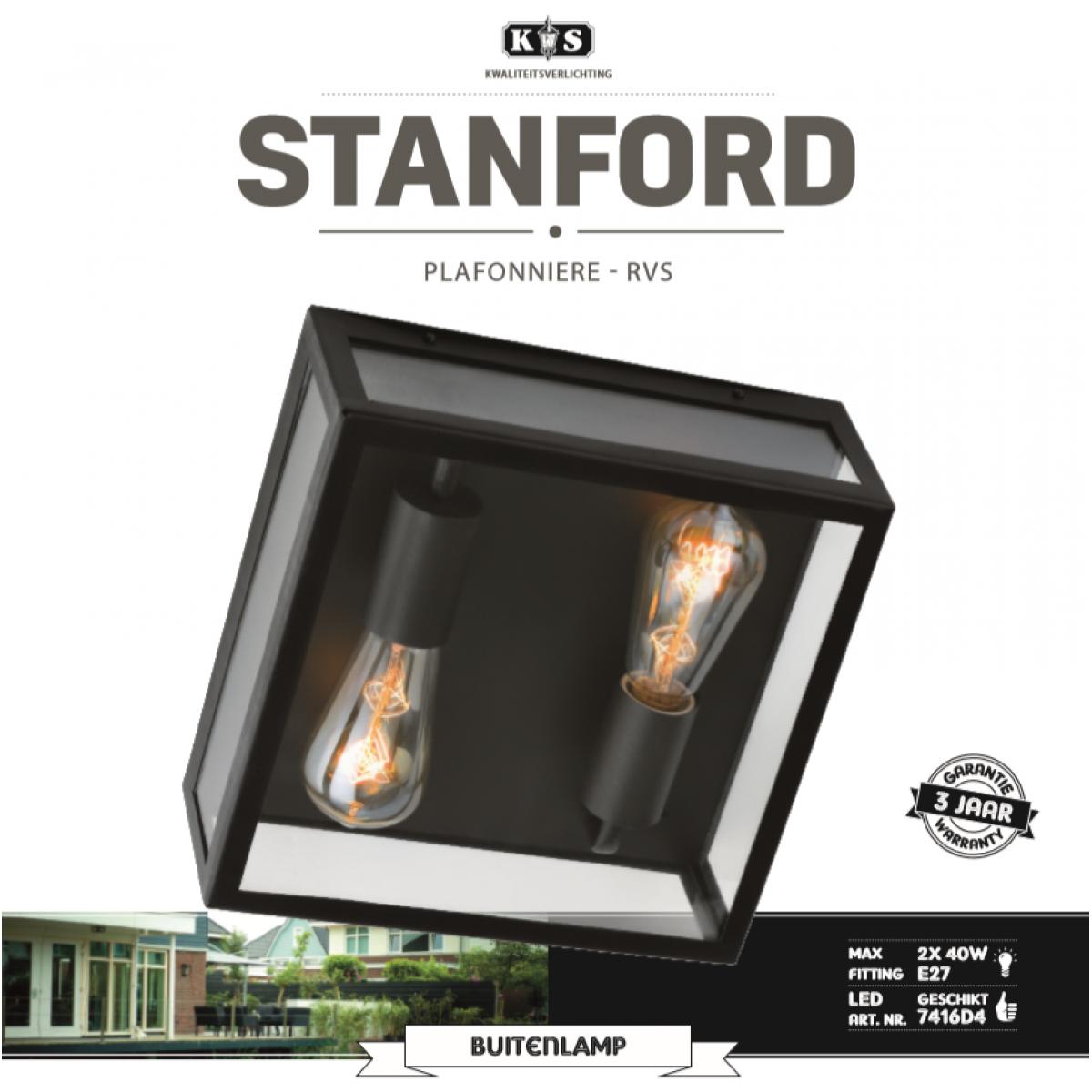 Plafondlamp stijlvol strak modern design, vierkant rvs frame met zwarte poedercoating, heldere beglazing, lichtbronnen 2 x e27 zichtbaar, ook als wandlamp op te hangen