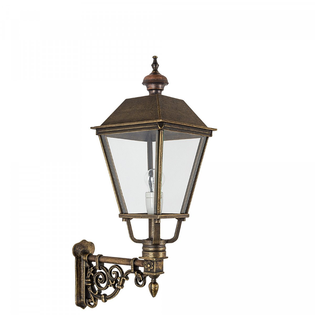 Klassieke vierkante bronzen buitenlamp Brandenburg M