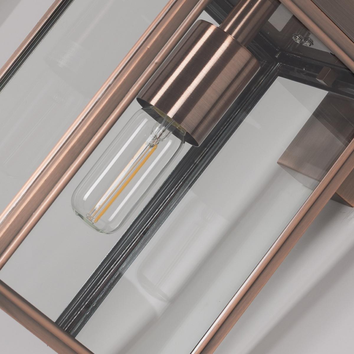 design buitenlamp, rvs vierkant frame met koper finish, groot helder glas, verlichting voor buiten aan de wand