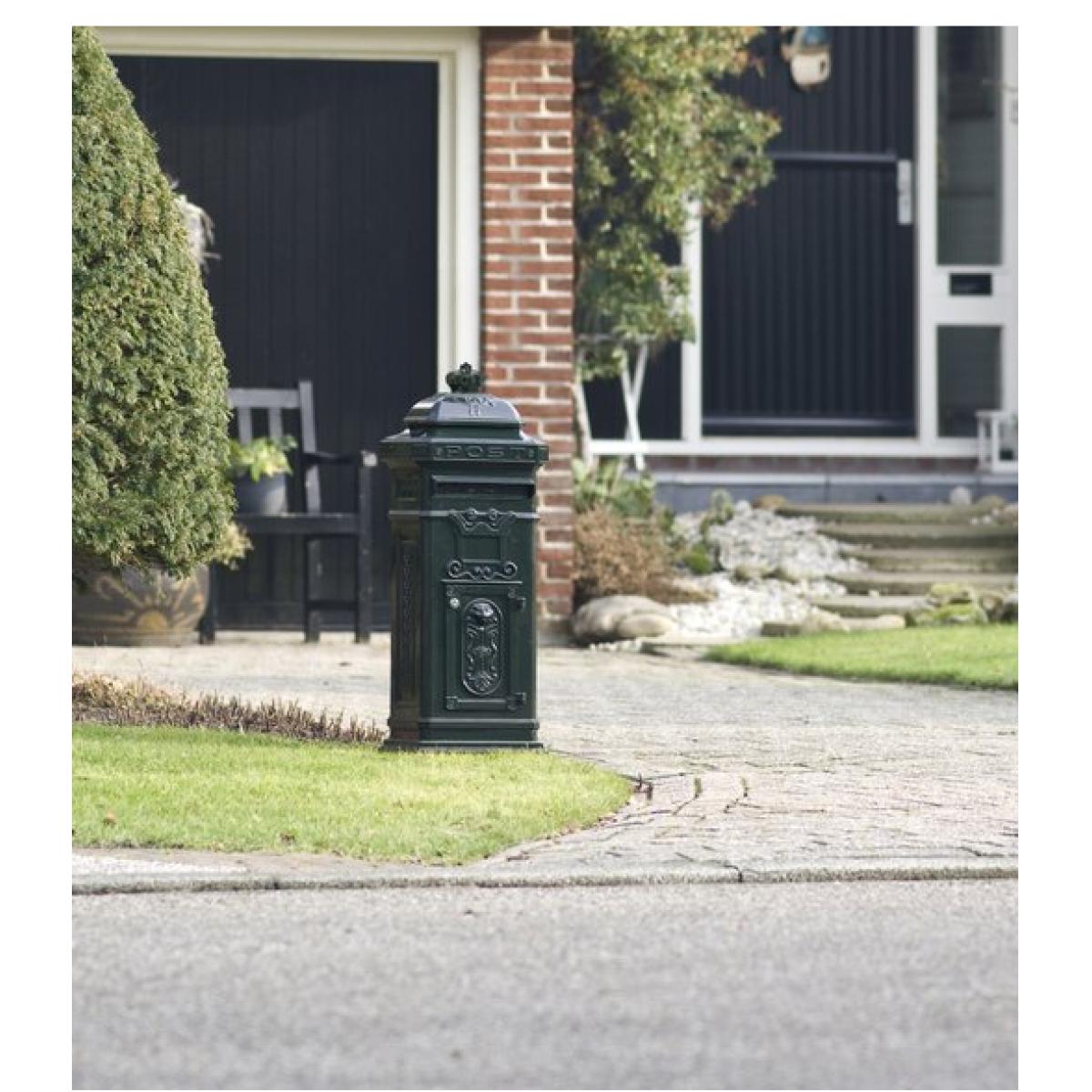 Kolom brievenbus XL Zwart   engelse brievenbus