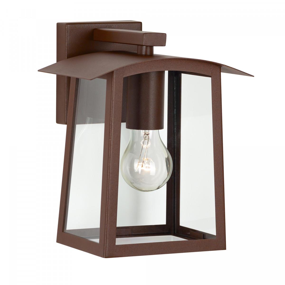 Moderne buitenlamp in mooie cortenstaal kleur voor aan de gevel, vierkante achterplaat, kap met grote heldere glazen, lichtbron zichtbaar in het armatuur