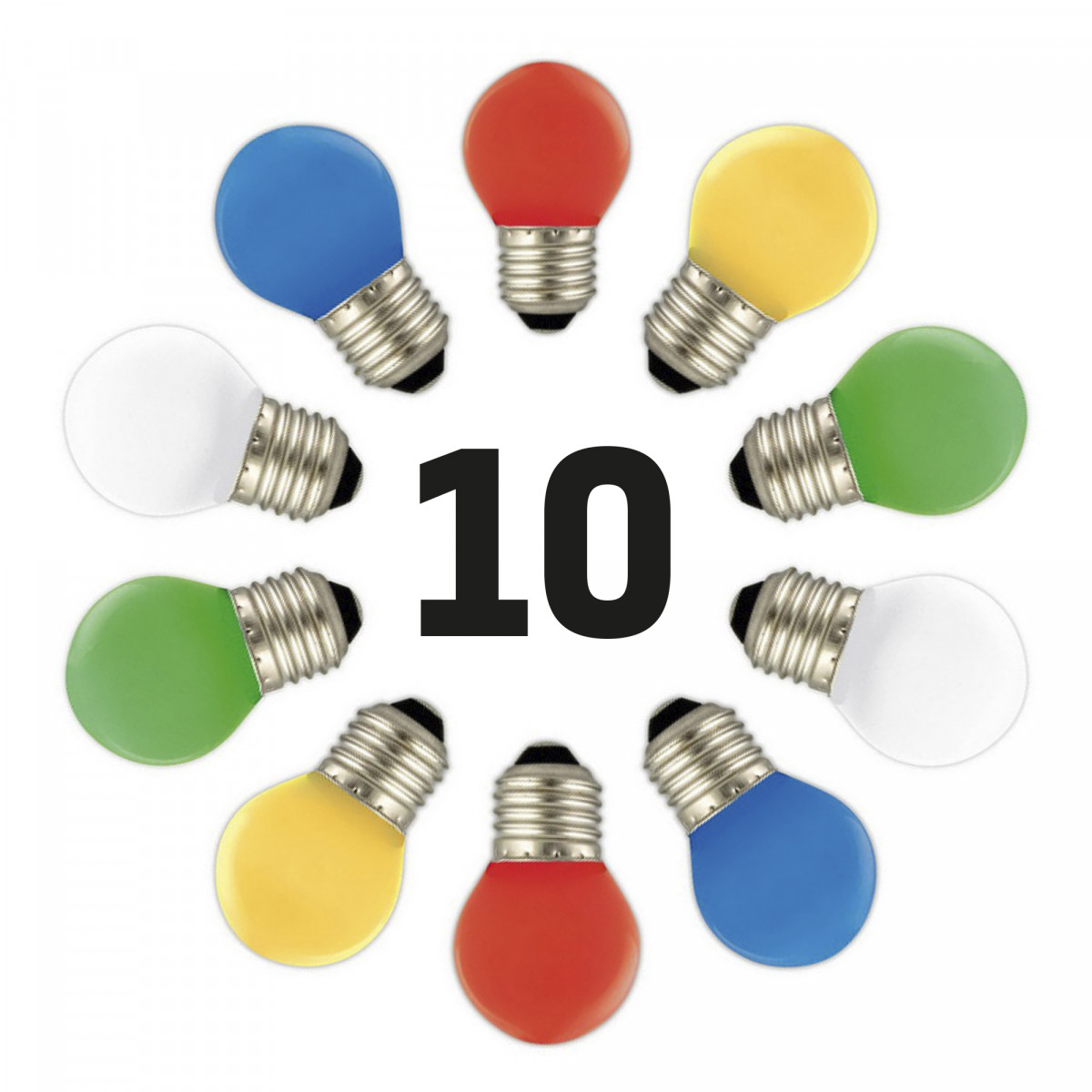 LED Feestverlichting 10 x 1 Watt - 10 kleuren