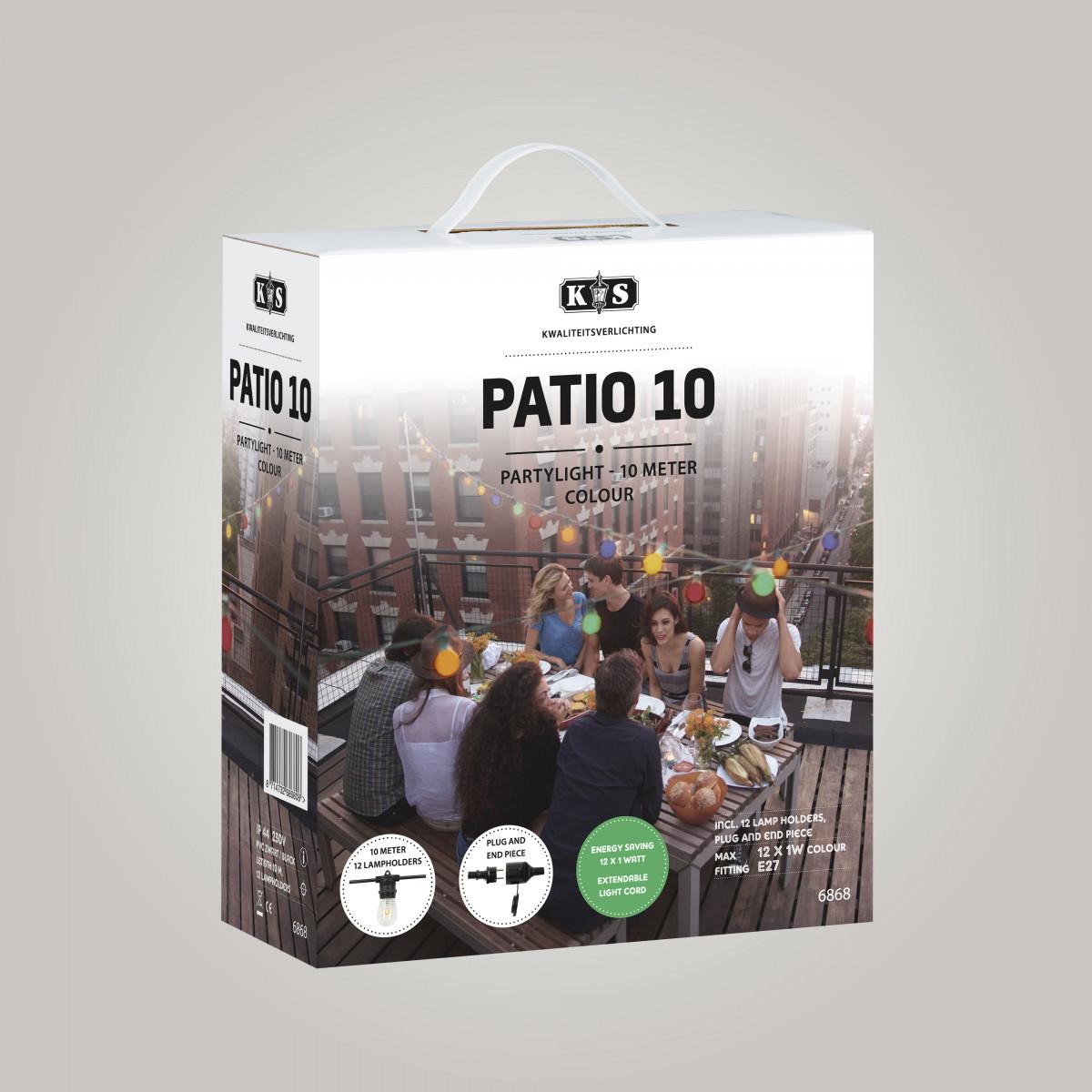 Feestverlichting LED Patio 10 kleur - 10 meter / 12 fittingen