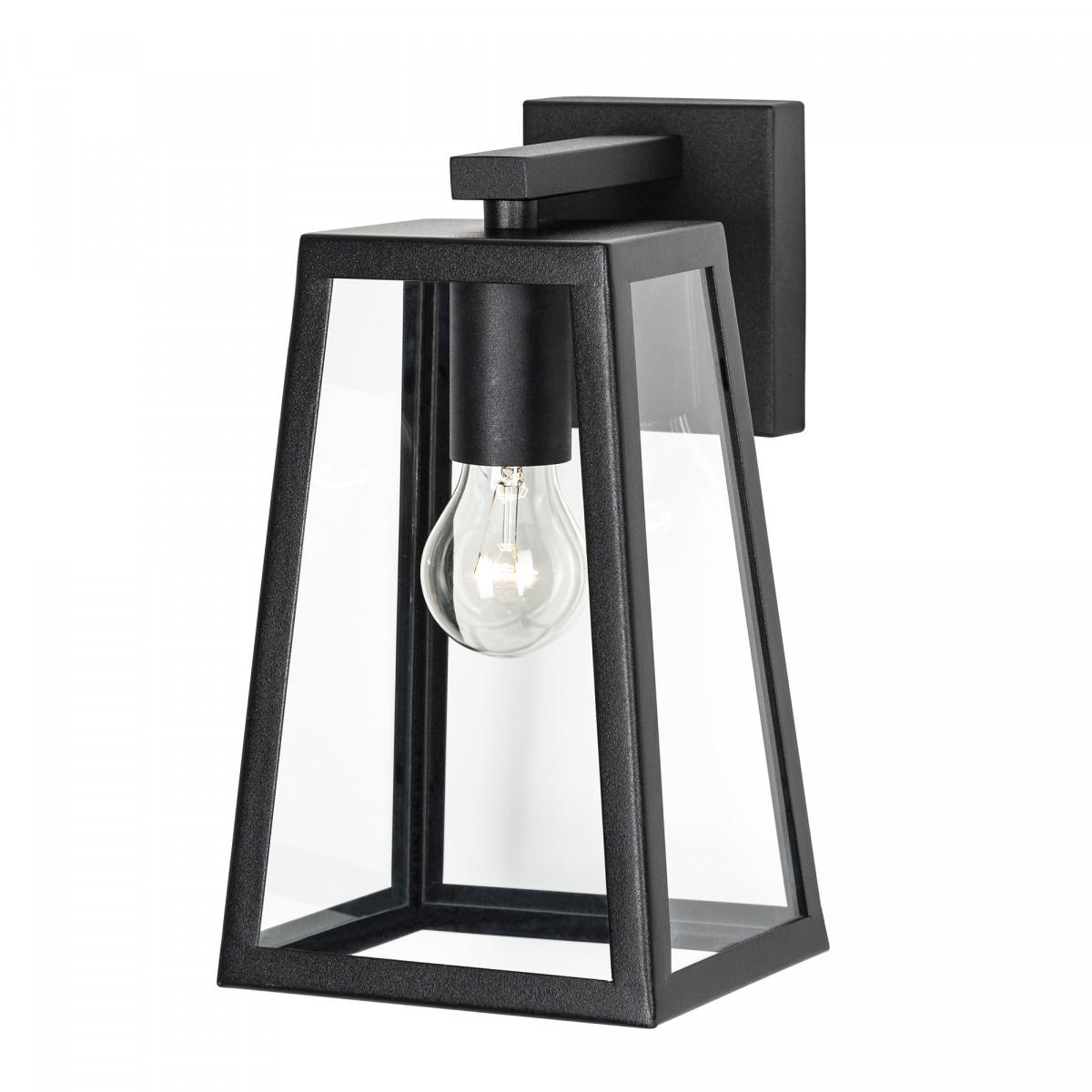 Zwarte design wandlamp voor buiten strak modern design verlichting voor aan de wand zwart frame heldere beglazing zwarte fitting lichtbron zichtbaar