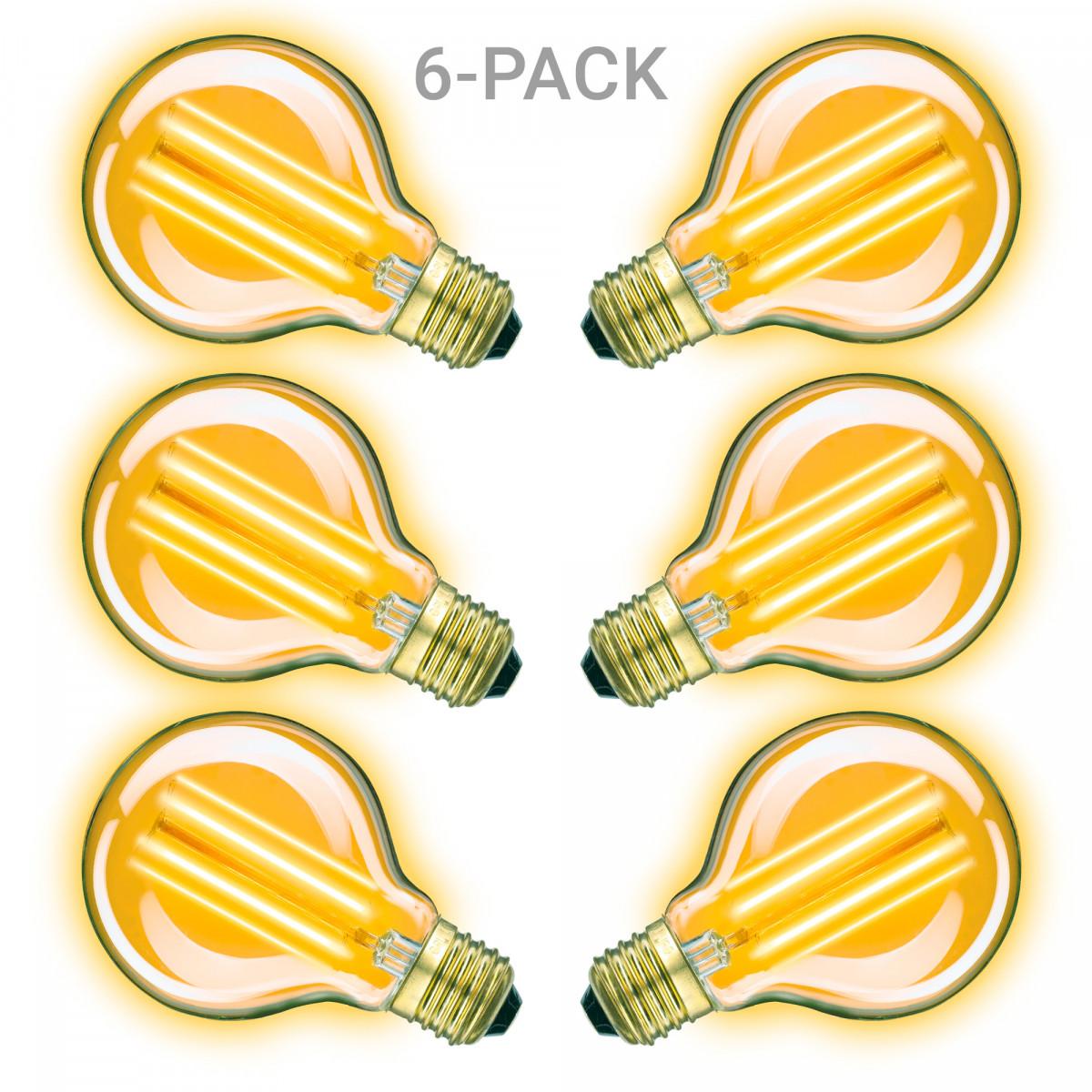 Ledlampen - lichtbronnen - aanbieding 6-pack Classic Gold rond ledlamp