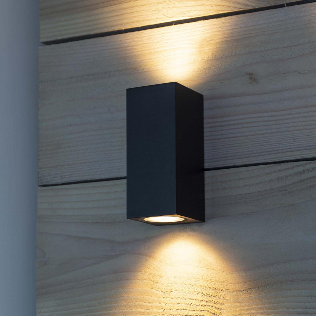 Kubus wandspot zwart, moderne wandverlichting voor buiten, up en downlighter, 2 lichtbundels, buitenlamp van het merk KS Verlichting