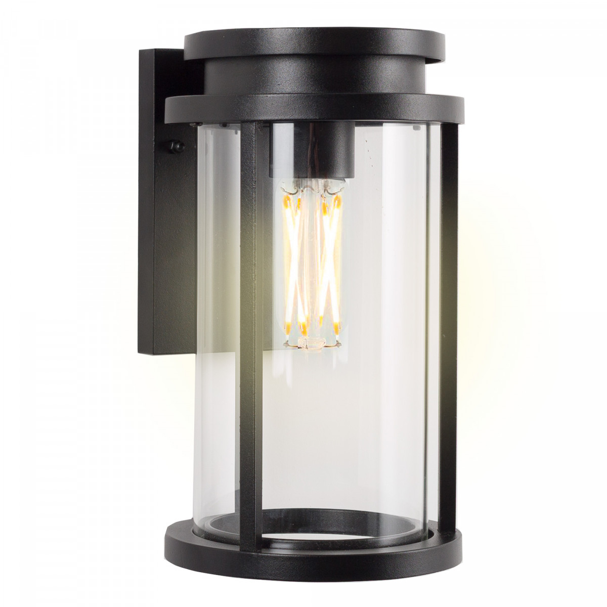 Buitenlamp Zwart, rechthoekige zwarte achterplaat voor aan de wand, ronde lantaarnkap met heldere beglazing, E27 fitting, strak moderne verlichting voor buiten