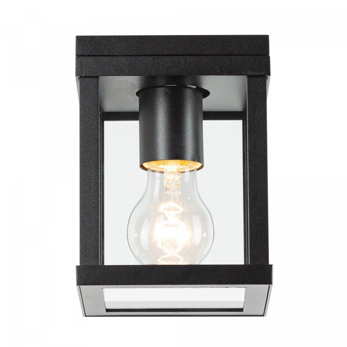 Buiten plafond lamp zwart frame met heldere glazen industrieel karakter stijlvol zwarte plafondverlichting KS plafondlamp Jersey