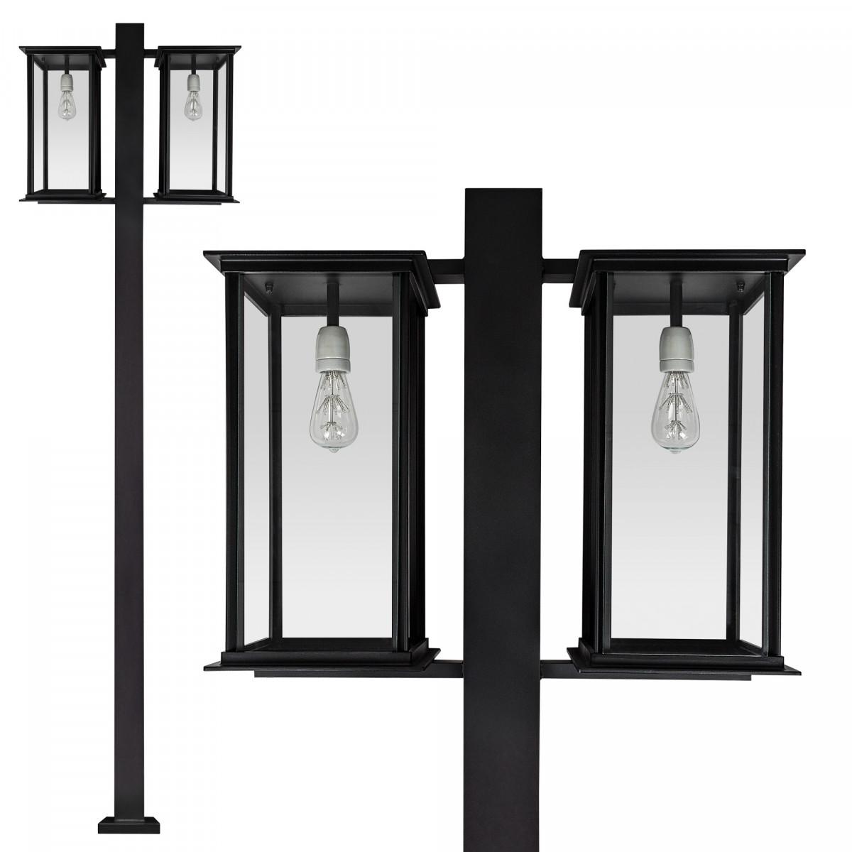 Exclusieve tuinlamp Capital lantaarn 2-lichts zwart