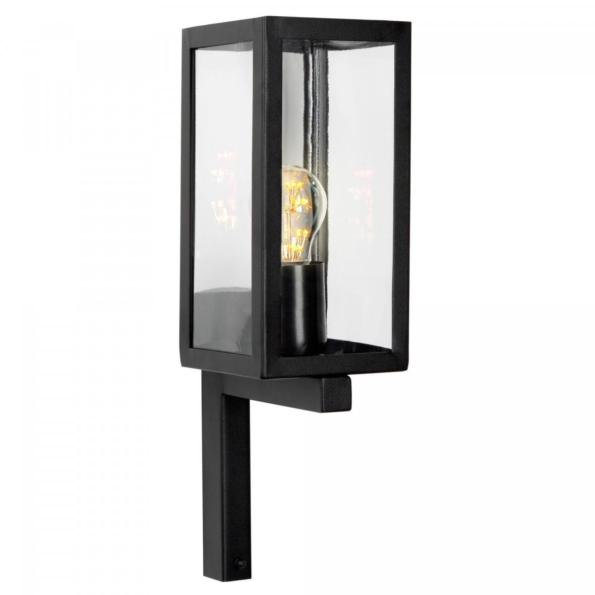 Zwarte buitenlamp Huizen, moderne wandverlichting, box design, rvs met zwarte poedercoating, stijlvol zwarte strak moderne verlichting voor buiten