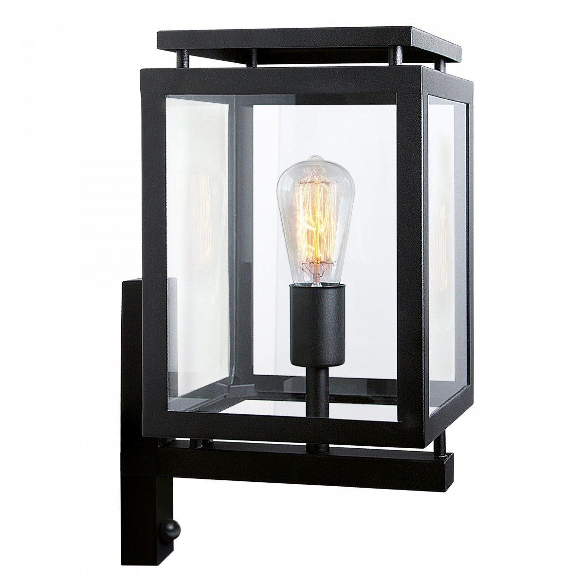 Buitenlamp De Vecht met bewegingssensor, moderne strakke buitenverlichting voor aan de wand, zwarte frame, helder glas, inclusief sensor