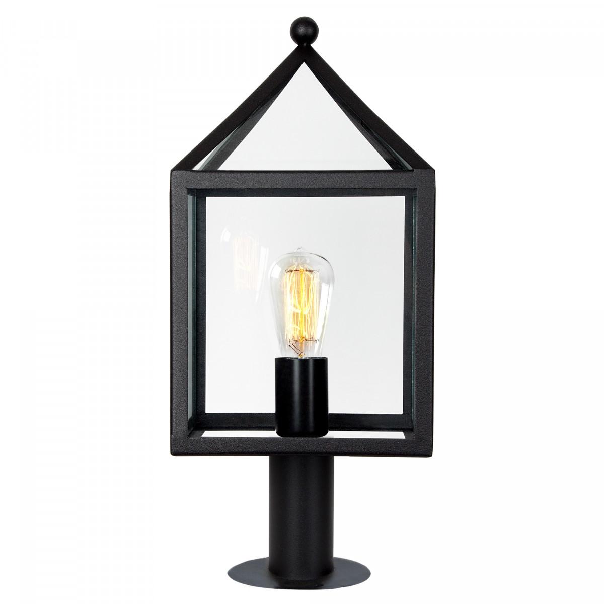 Zwarte buitenlamp staand model tuinlamp, zwart RVS frame, grote heldere glazen model Bloemendaal