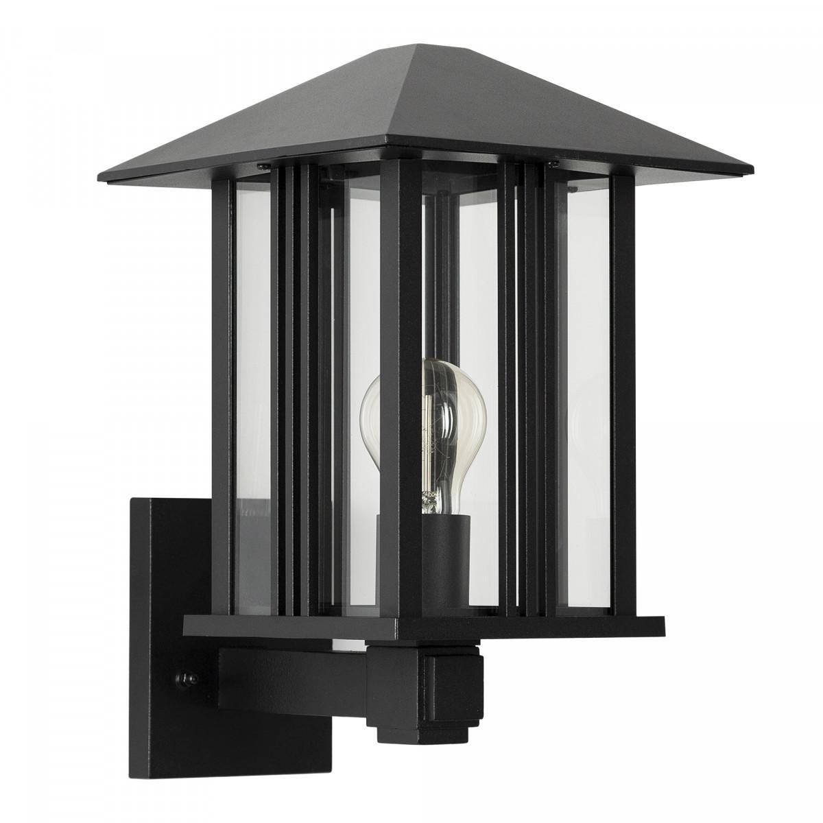 Wandlamp Kingston voor buiten, moderne buitenmuur verlichting met een klassieke touch, zwarte buitenlamp met heldere beglazing op wandsteun met vierkante achterplaat