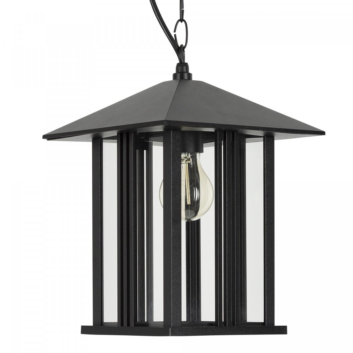 Buiten hanglamp zwart de Kingston Veranda lamp, mooi strak klassiek vormgegeven lantaarnkap aan ketting met plafondplaat