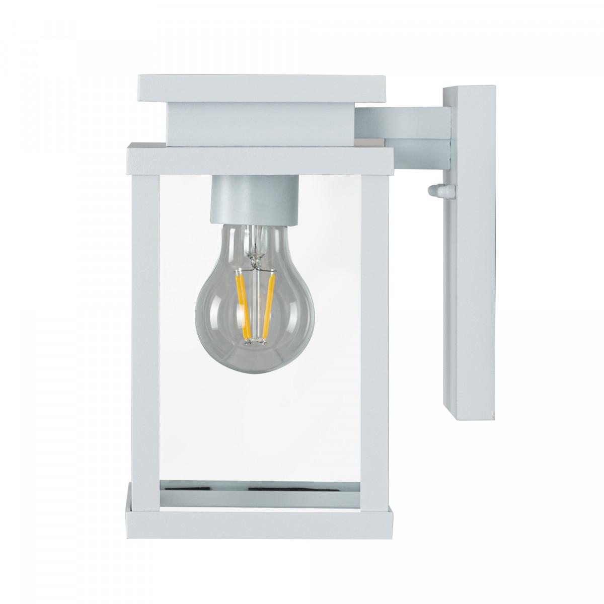 Buitenlamp wit, moderne strak vormgegeven buitenverlichting, wit frame, heldere glazen, wandlamp voor buiten