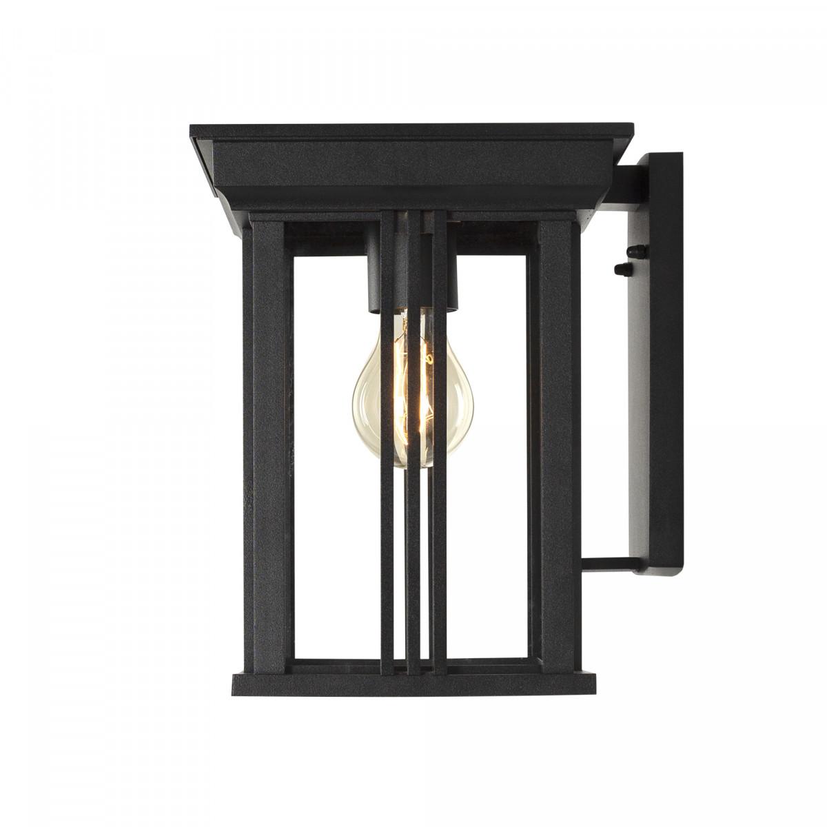 Zwarte wandlamp voor buiten, strak modern klassieke verlichting, box design, heldere beglazing, strakke belijning, zwart frame