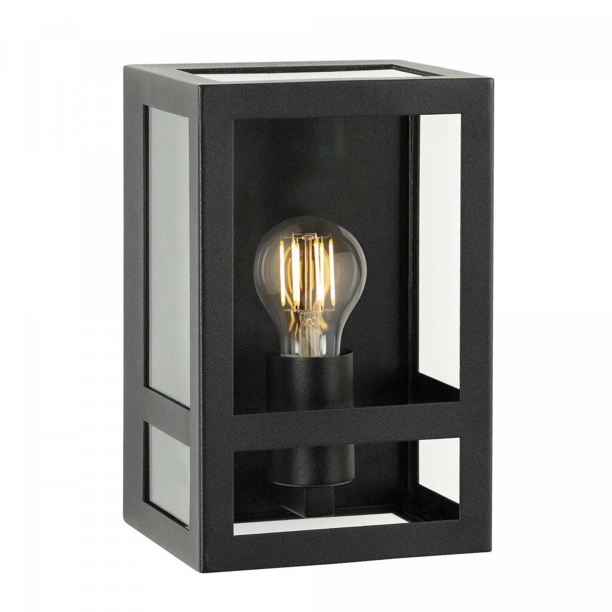 Sensor wandlamp voor buiten, zwart frame, vlakke achterzijde, helder glas, inclusief dag nacht led schemersensor lichtbron