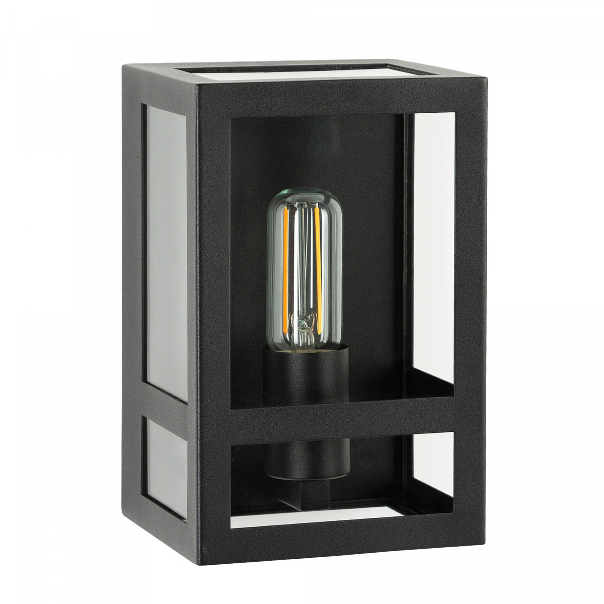 Wandlamp zwart voor buiten,  buitenlamp met zwart frame, helder glas, vlakke achterzijde, E27 fitting, urban stijl  gevelverlichting