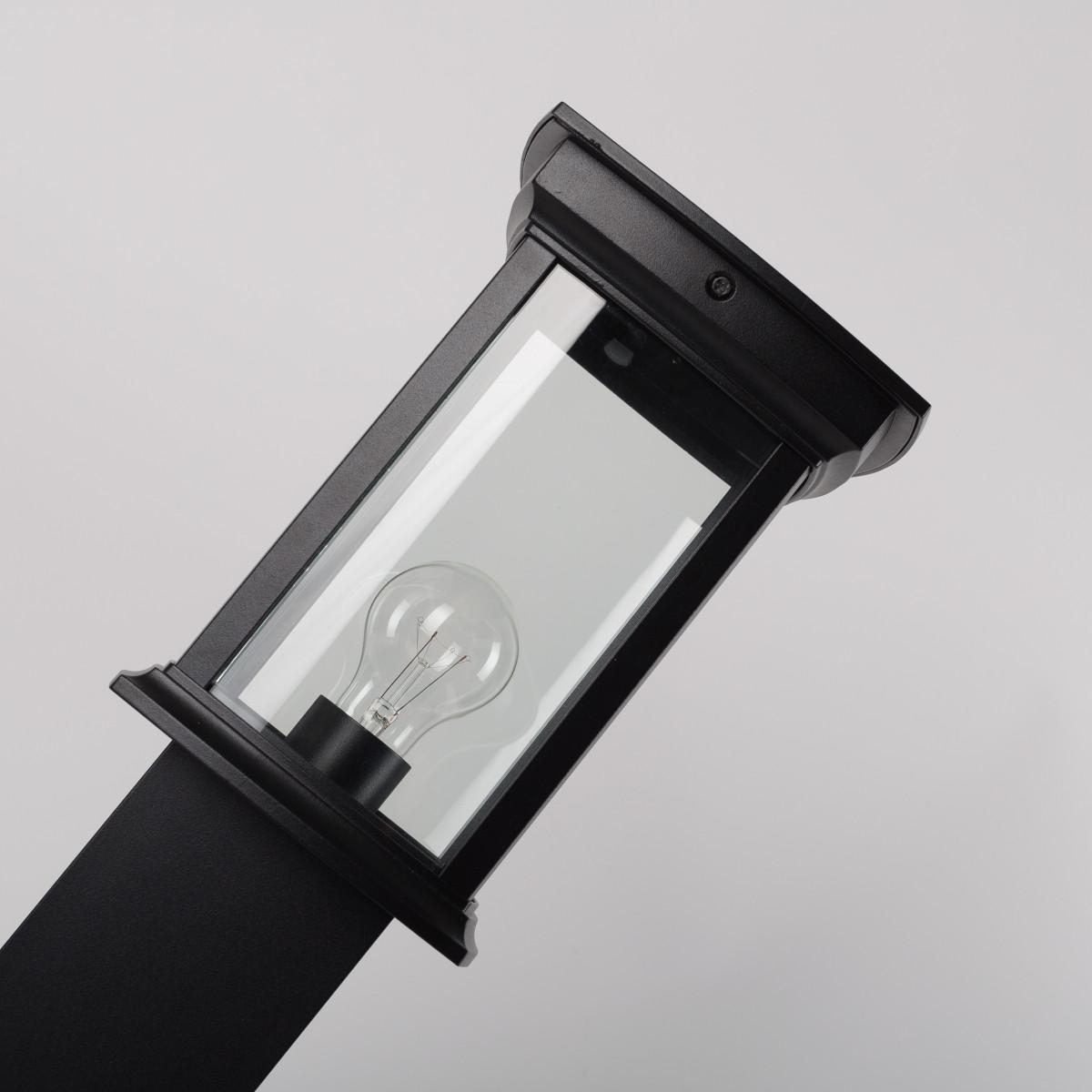 Buitenlamp Staand Zwart Carlton Terras, strak klassieke tuinlamp 80cm hoog, rechthoekige lantaarnkap met helder glazen, E27 fitting, mooie tuinverlichting