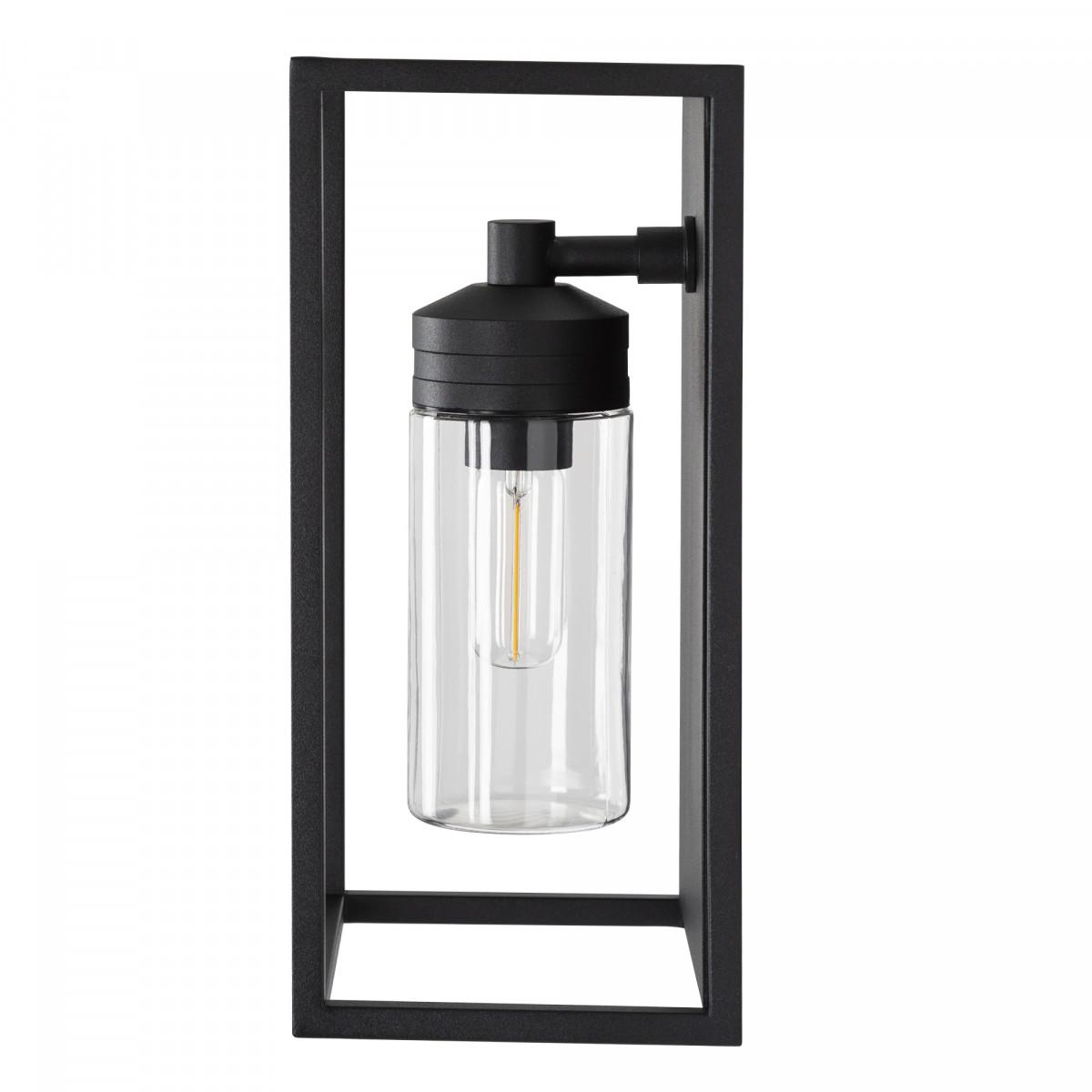 Buitenlamp Hudson zwart, moderne RVS wandverlichting voor buiten, buitenverlichting, sfeervol en functioneel, zwart frame helder stolpglas vlakke achterzijde, E27 fitting