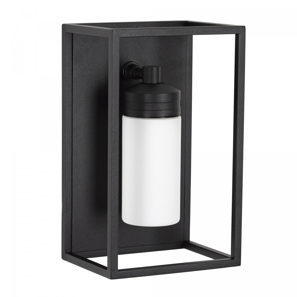 Buitenlamp Hudson zwart wandlamp plat, zwart frame en melkwit stolp glas, rvs buitenverlichting met zwarte coating, moderne wandverlichting, Nostalux