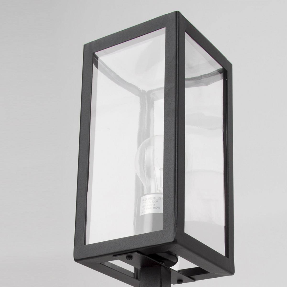 Tuinlamp Huizen 7283D4,  zwarte staande tuinlantaarn, design moderne tuinverlichting, zwart frame heldere beglazing, box design 51cm hoog