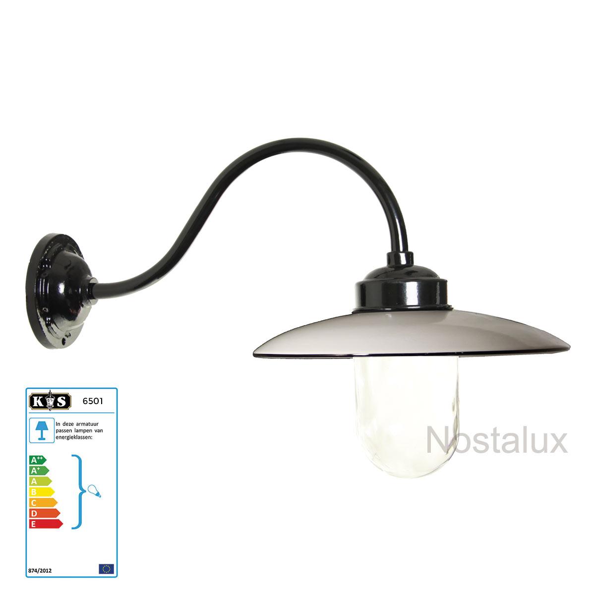 Stallamp Solingen wandlamp Zwart/Wit (6501) - Nostalux - Industrieel