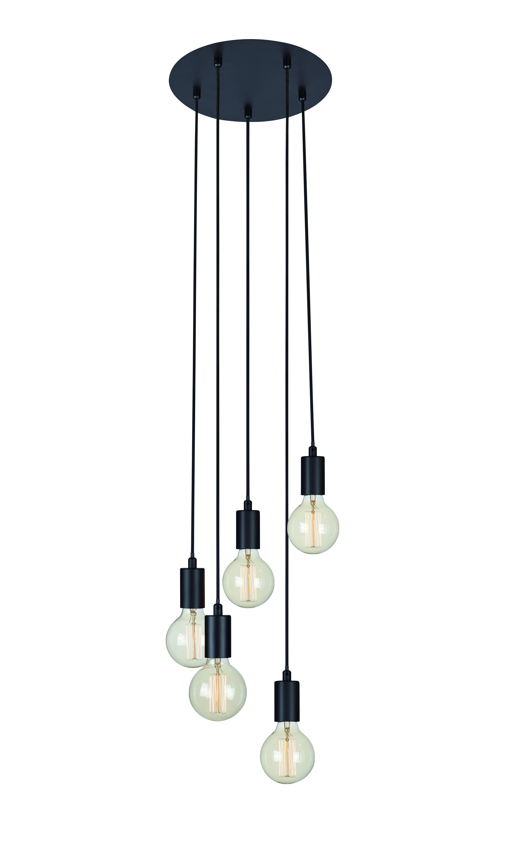 Sky 5-lichts hanglamp zwart